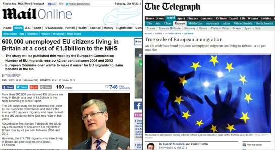 Daily Mail and Telegraph 600000 Unemployed EU Immigrant Combi