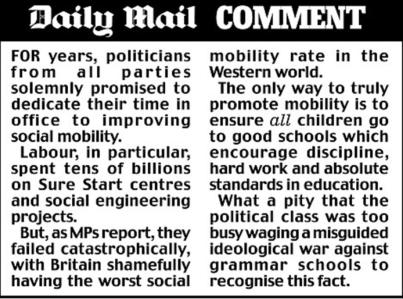 Daily Mail Social Mobility Comment