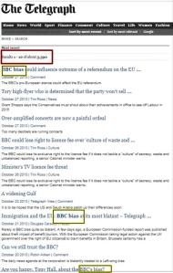 Telegraph BBC Bias Article Search