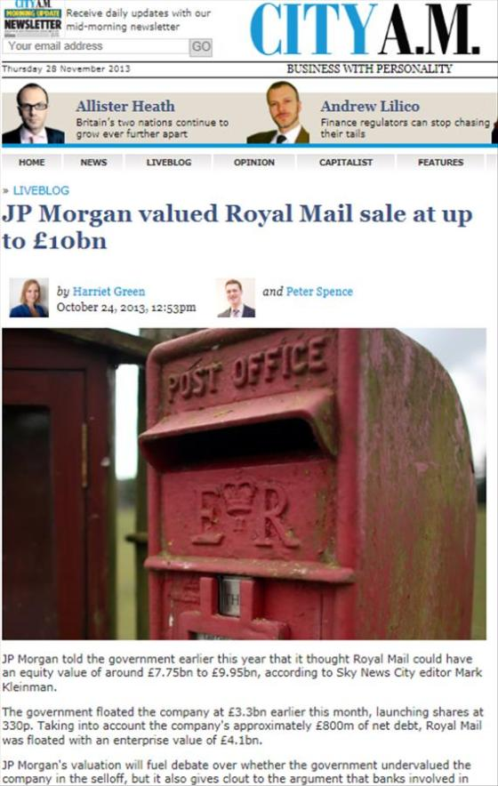 City AM Royal Mail worth 10bn