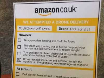 Amazon drone deliveries while you were out