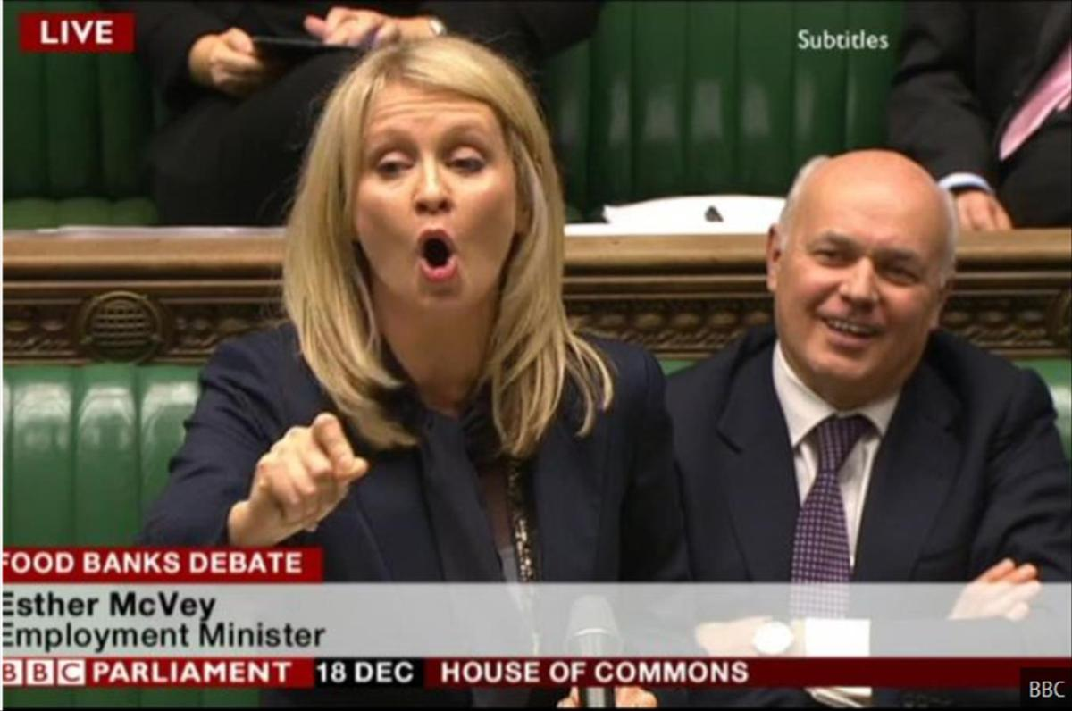 Iain Duncan Smith and Esther McVey sneer, laugh and then vanish as commons debates why Britain's desperate poor are forced to use food banks (video)