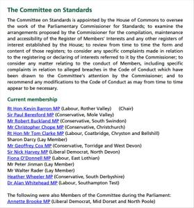 Members of House of Commons Committee on Standards