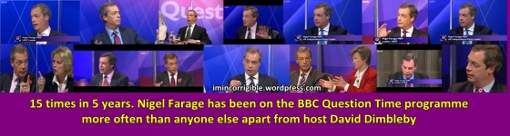 Farage appeared on Question Time 15 times in 5 years