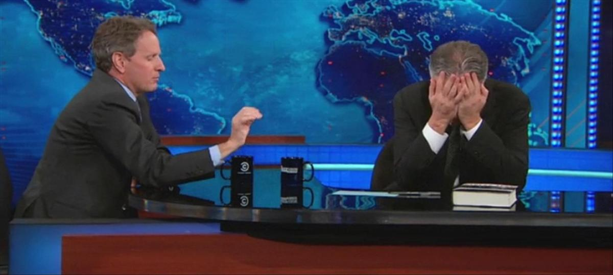 Tim Geithner fails the Jon Stewart stress test (Daily Show extended interview video)
