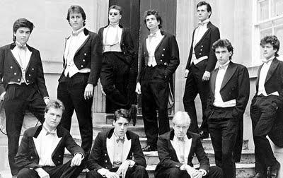 Old Etonian's David Cameron and Boris Johnson pose for their Oxford University Bullingdon Club photo