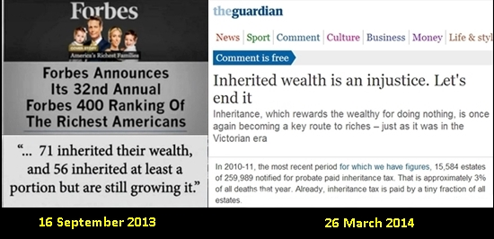 Forbes billionnaires inherited wealth 16 Sept 2013 Guardian 26 March 2014 combi Final
