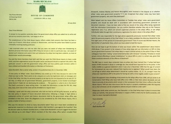 Cameron suggested that Mark Reckless should write to him about the party's whips dirt books