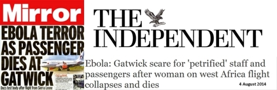 Mirror and Independent ebola gatwick terror and banner-horz