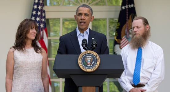 President Obama and Mr. and Mrs. Bergdahl on the announcement of the release of their son, Sgt. Bowe Bergdahl, by the Taliban — (AP Photo)