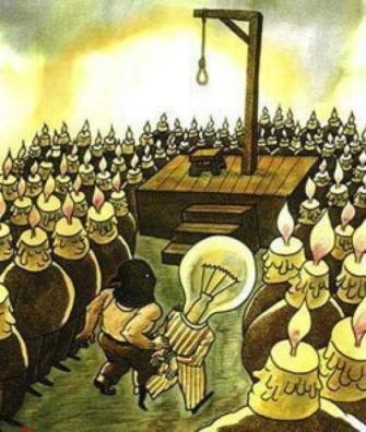 Image result for light bulb being executed by candles
