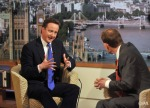 BBC TV handout picture. Conservative Party leader David Cameron, left, is interviewed on the Andrew Marr Show.