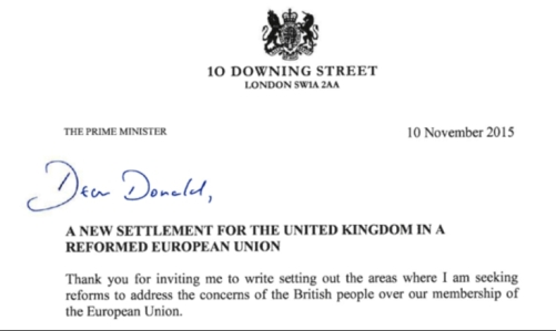 Cameron Letter to tusk eu brexit