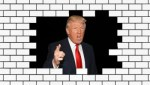 Trump through brick wall