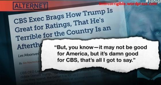 CBS brag about trump media coverage text